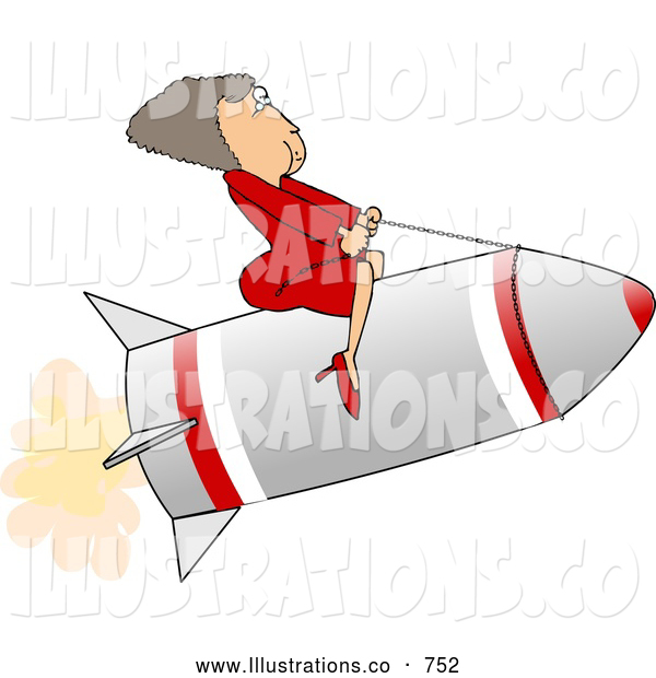 Royalty Free Illustration of a White Successful Businesswoman Riding a Rocket
