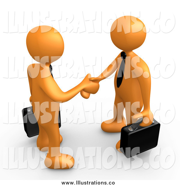 Royalty Free Stock Illustration of 3d Orange Business Men Meeting and Shaking Hands