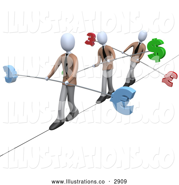 Royalty Free Stock Illustration of 3d White Business People Walking Across a Tightrope with Currency Bars