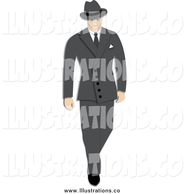 Royalty Free Stock Illustration of a 1940s Styled Caucasian Businessman Walking in a Suit