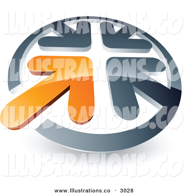 Royalty Free Stock Illustration of a 3d Arrow Standing out in a Circle of Chrome Arrows