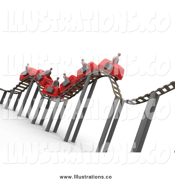 Royalty Free Stock Illustration of a 3d Bumpy Red Roller Coaster Transporting Businessmen with Briefcases