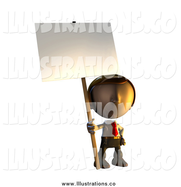 Royalty Free Stock Illustration of a 3d Business Man Holding a Sign Placard on a Pole
