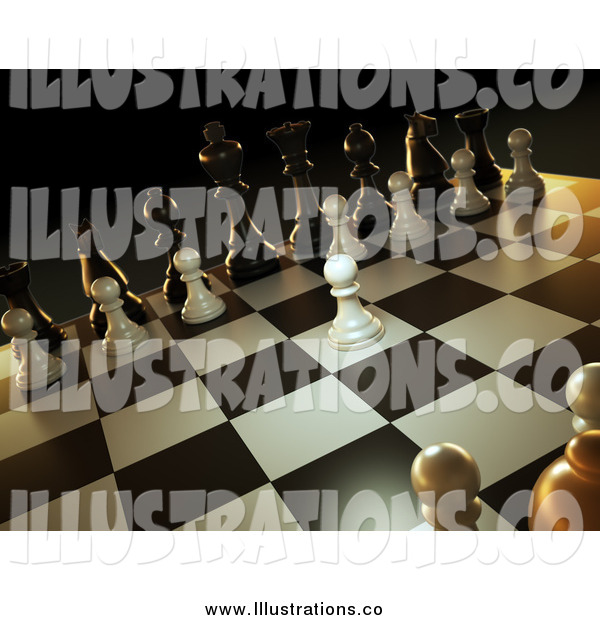 Royalty Free Stock Illustration of a 3d Chess Game, a White Pawn Forward