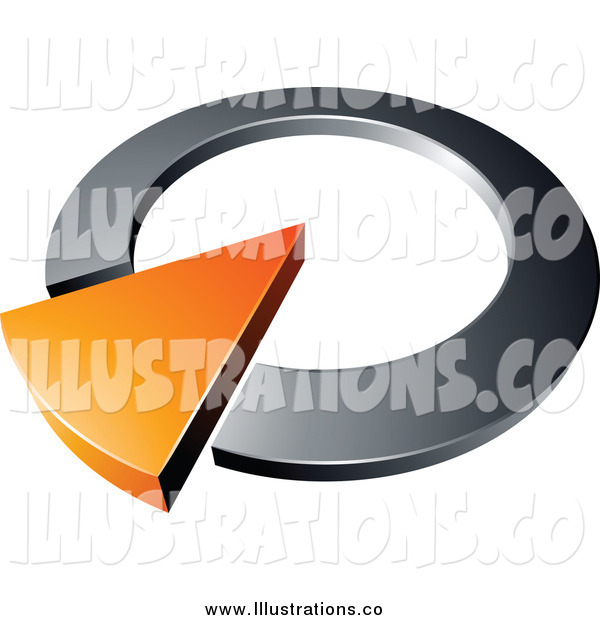 Royalty Free Stock Illustration of a 3d Chrome and Orange Dial Pointing Upwards Right