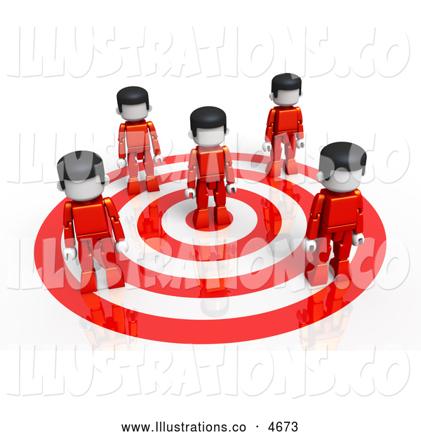 Royalty Free Stock Illustration of a 3d Group of People Standing on a Target