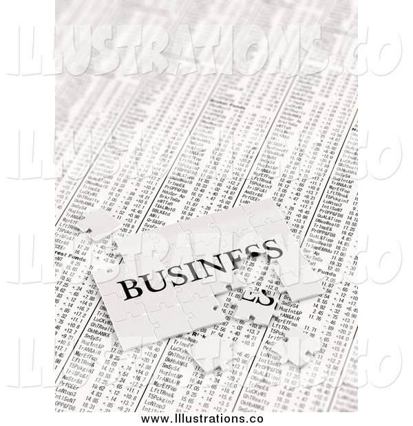 Royalty Free Stock Illustration of a 3d Incomplete Business Puzzle over Stock Charts
