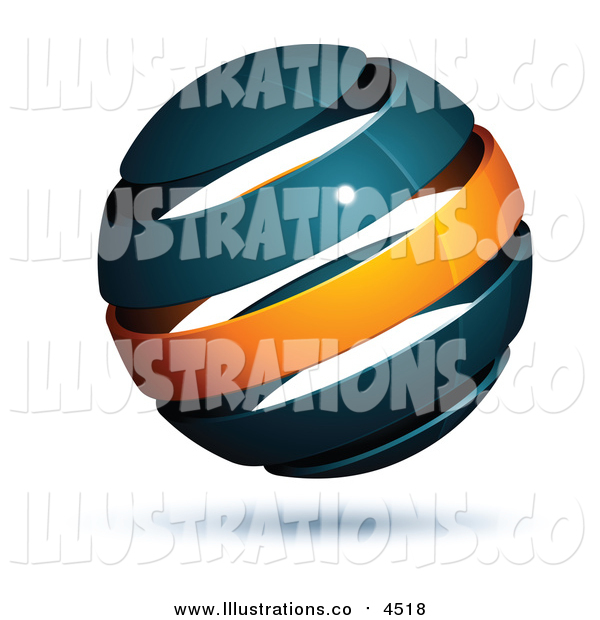 Royalty Free Stock Illustration of a 3d Navy Blue and Orange Globe
