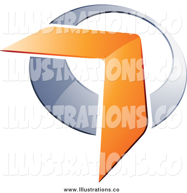 Royalty Free Stock Illustration of a 3d Orange Boomerang Arrow over a Chrome Circle