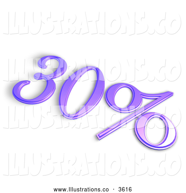 Royalty Free Stock Illustration of a 3d Purple 30 Percent off or Interest Sign