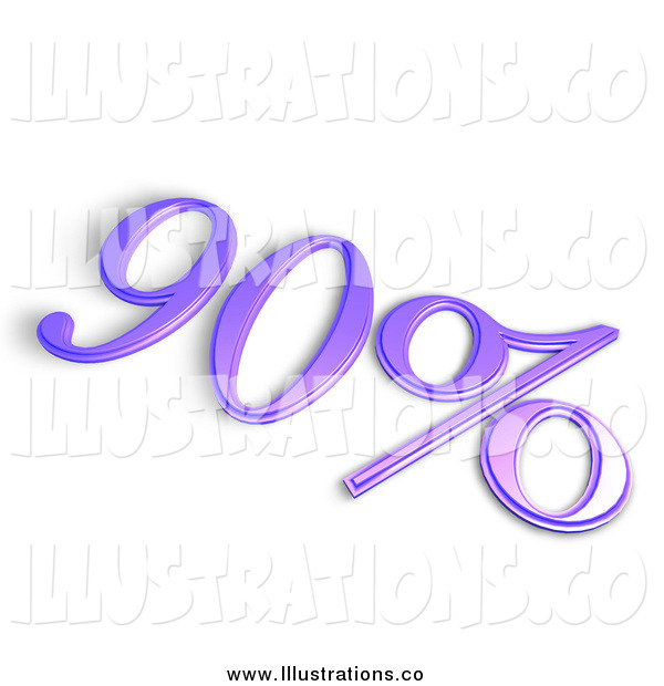 Royalty Free Stock Illustration of a 3d Purple 90 Percent off or Interest Sign