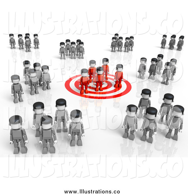 Royalty Free Stock Illustration of a 3d Red Group Standing on a Target, Surrounded by Gray Groups
