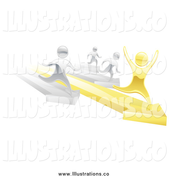 Royalty Free Stock Illustration of a 3d Silver People Racing Against a Winning Gold Man on Arrows