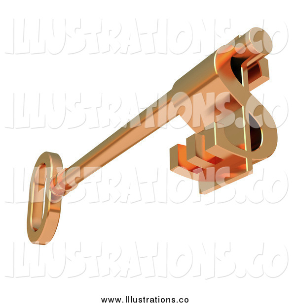 Royalty Free Stock Illustration of a 3d Skeleton Key with a Dollar Symbol Tip