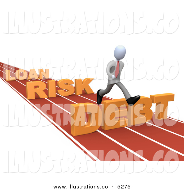 Royalty Free Stock Illustration of a 3d White Business Man Leaping Loan, Risk and Debt Hurdles on a Track