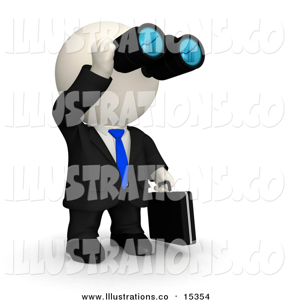 Royalty Free Stock Illustration of a 3d White Business Man Viewing Through Binoculars
