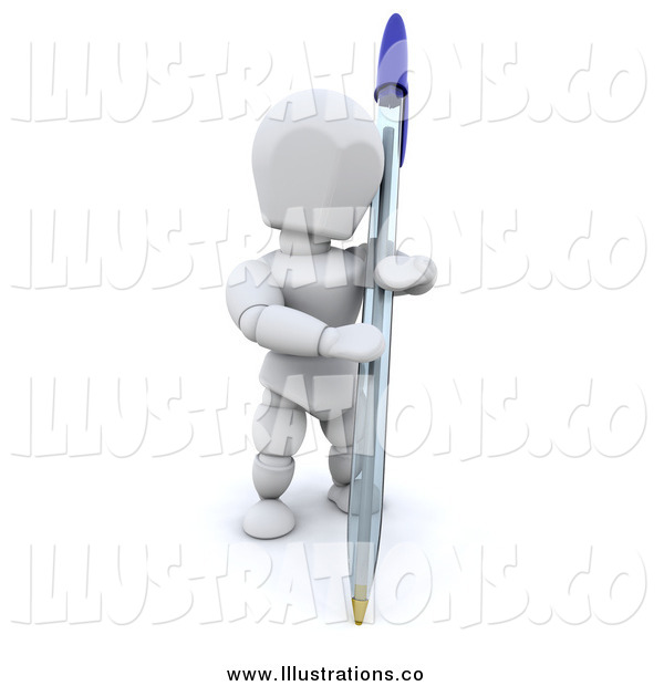 Royalty Free Stock Illustration of a 3d White Man Holding a Pen