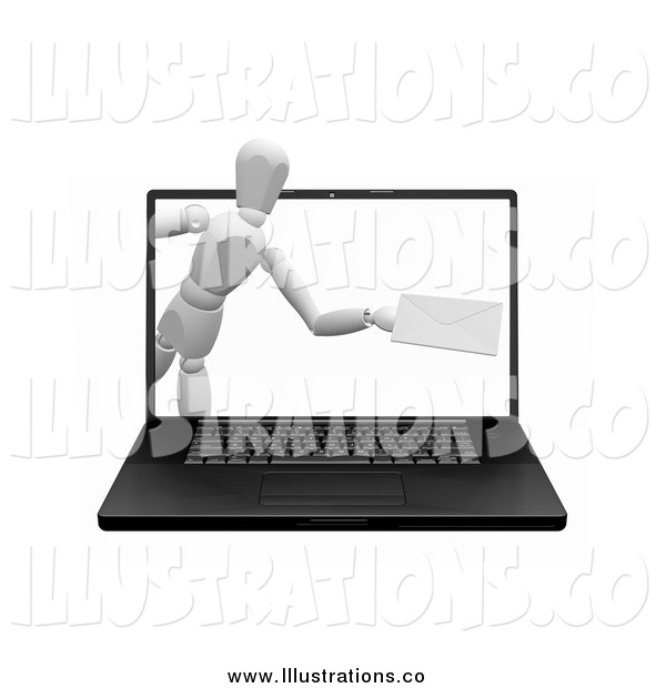 Royalty Free Stock Illustration of a 3d White Mannequin Emerging from a Laptop Computer Screen with an Envelope