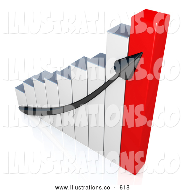 Royalty Free Stock Illustration of a Ascending Arrow on a Graph Showing the Success and Increasing Sales for a Business