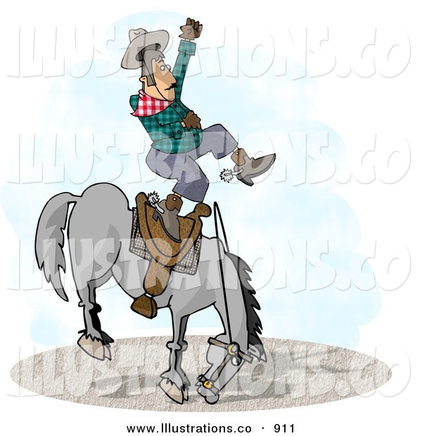 Royalty Free Stock Illustration of a Bareback Bronco Riding at a County Rodeo Competition