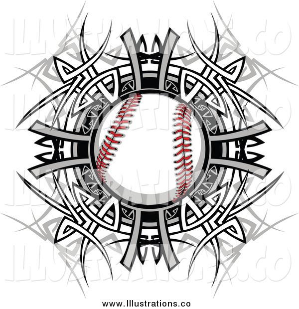 Royalty Free Stock Illustration of a Baseball over a Tribal Circle