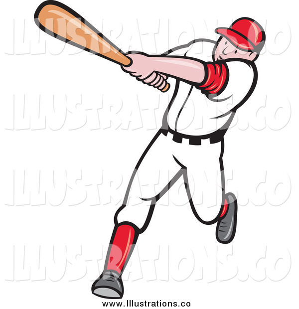 Royalty Free Stock Illustration of a Batting Cartoon White Male Baseball Player