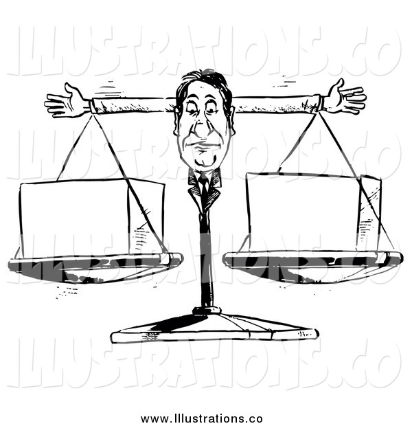 Royalty Free Stock Illustration of a Black and White Businessman Scale Weighing Cubes