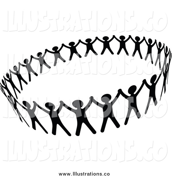 Royalty Free Stock Illustration of a Black and White Circle of People Unified