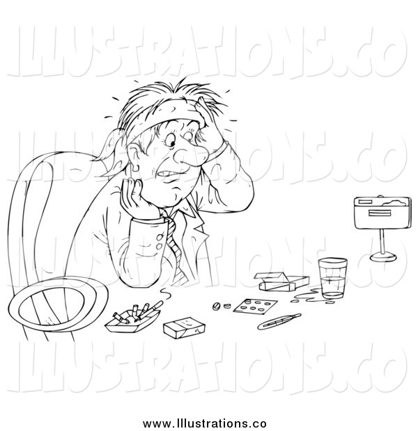 Royalty Free Stock Illustration of a Black and White Sketched Business Man Surrounded by Drugs