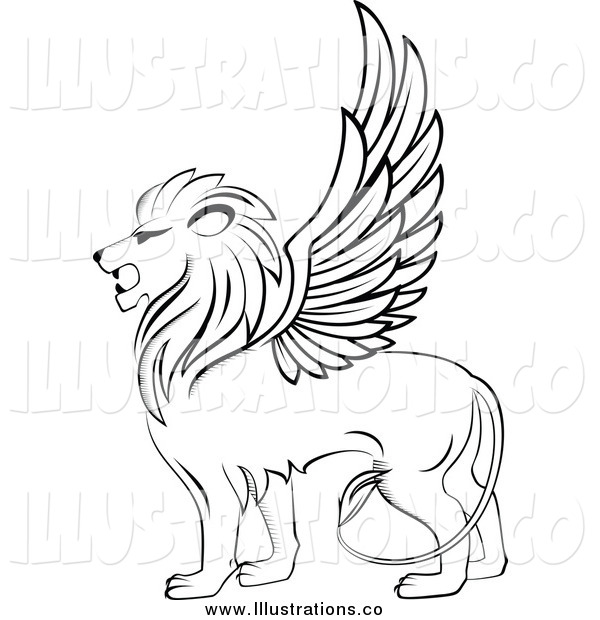 Royalty Free Stock Illustration of a Black and White Winged Lion