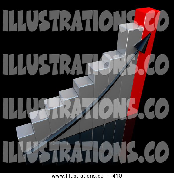 Royalty Free Stock Illustration of a Black Ascending Arrow Going up a Silver and Red Bar Graph Chart over a Black Background, Depicting an Increase in Sales