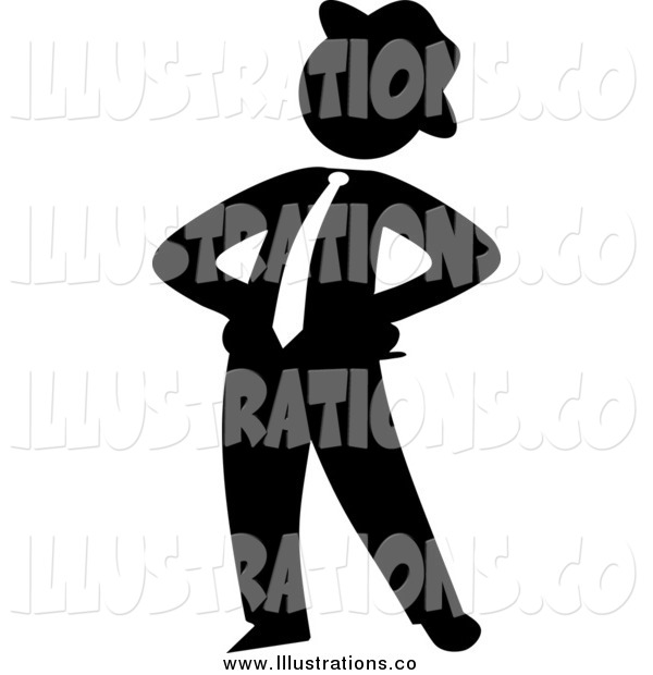 Royalty Free Stock Illustration of a Black Silhouetted Proud Businessman Standing with His Hands on His Hips