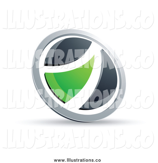 Royalty Free Stock Illustration of a Black White and Green Round Button