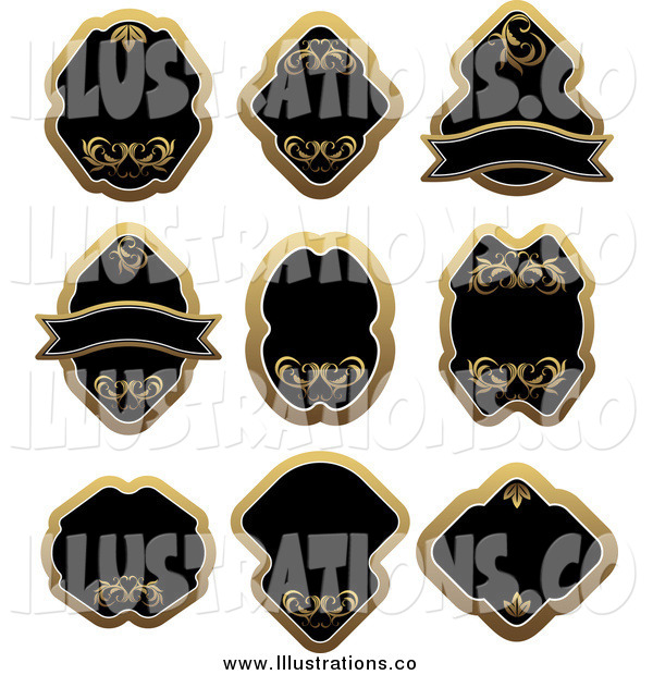 Royalty Free Stock Illustration of a Blank Gold and Black Labels