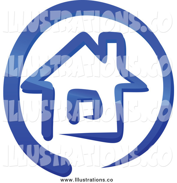 Royalty Free Stock Illustration of a Blue House in a Circle