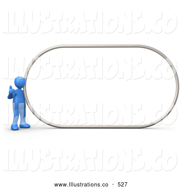 Royalty Free Stock Illustration of a Blue Man Giving the Thumbs up While Standing by a Big Blank Sign Which Is Ready for an Advertisement