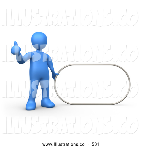 Royalty Free Stock Illustration of a Blue Man Giving the Thumbs up While Standing by a Blank Sign Which Is Ready for an Advertisement