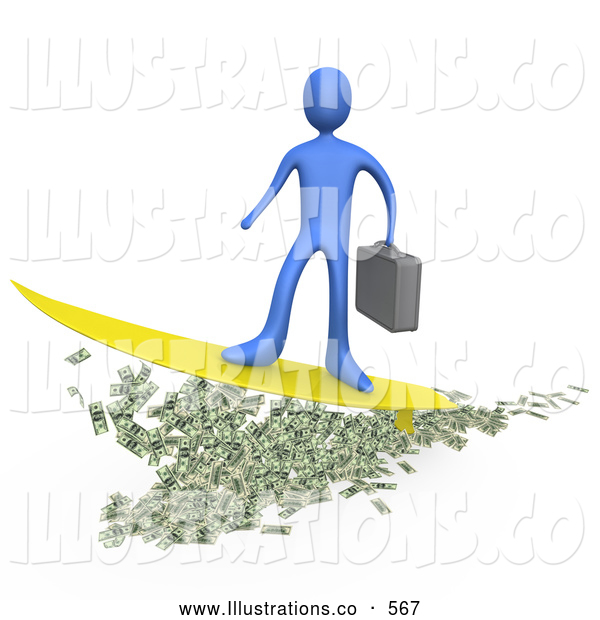 Royalty Free Stock Illustration of a Blue Rich Businessperson Person Carrying a Briefcase and Standing Proud on a Yellow Surfboard While Surfing on Money