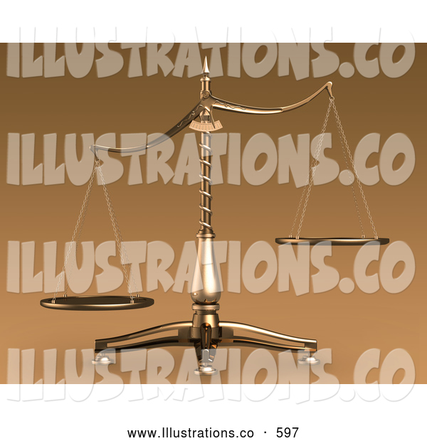 Royalty Free Stock Illustration of a Brass Weight Scales of Justice off Balance, Symbolizing Injustice