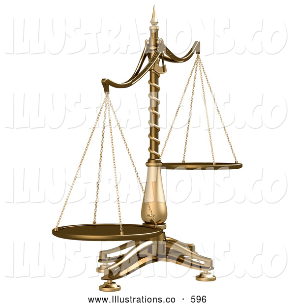 Royalty Free Stock Illustration of a Brass Weight Scales of Justice off Balance, Symbolizing Injustice on a White Background
