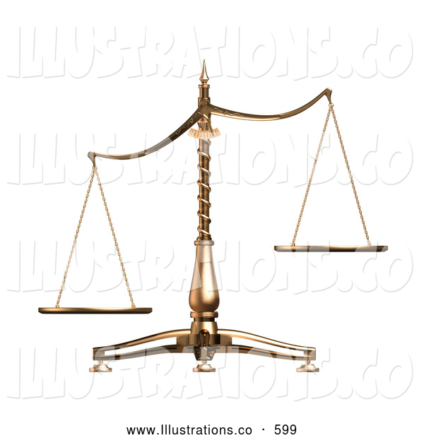 Royalty Free Stock Illustration of a Brass Weight Scales of Justice off Balance, Symbolizing Injustice, over White