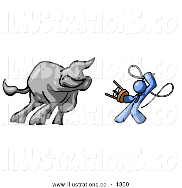 Royalty Free Stock Illustration of a Brave Blue Man Holding a Stool and Whip While Taming a Bull, Bull Market