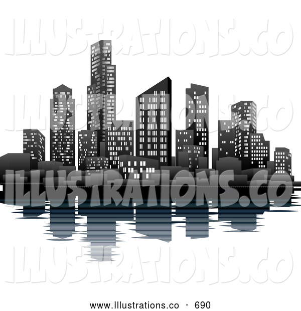 Royalty Free Stock Illustration of a Bright Illuminated City at Night on the Waterfront with the Skyscraper Office Buildings Reflecting in the Water