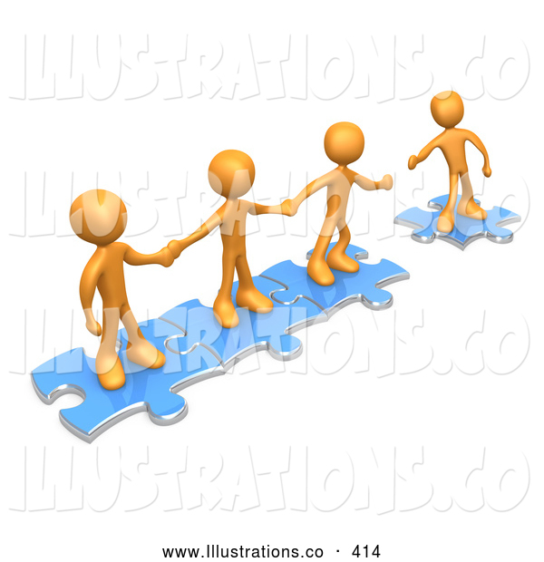 Royalty Free Stock Illustration of a Bright Team of Three Orange People Holding Hands and Standing on Blue Puzzle Pieces, with One Man Reaching out to Connect Another to Their Group
