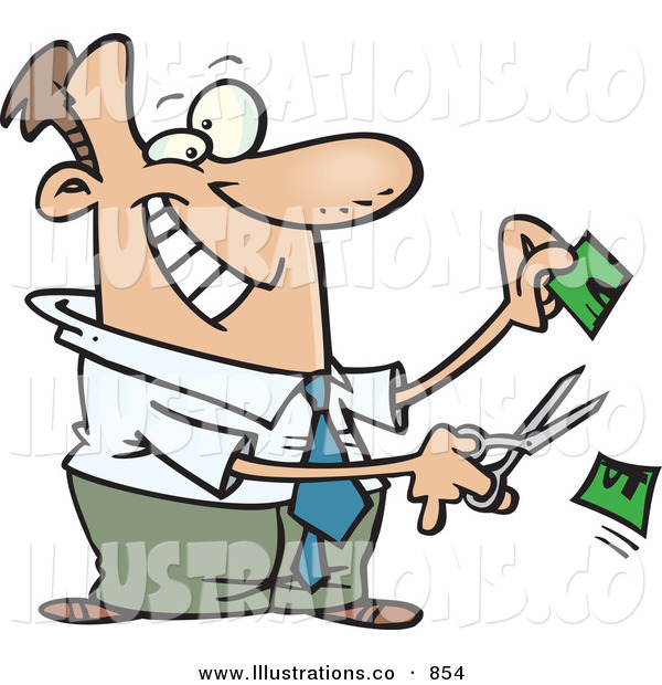 Royalty Free Stock Illustration of a Business Man Snipping Money in Half with Scissors