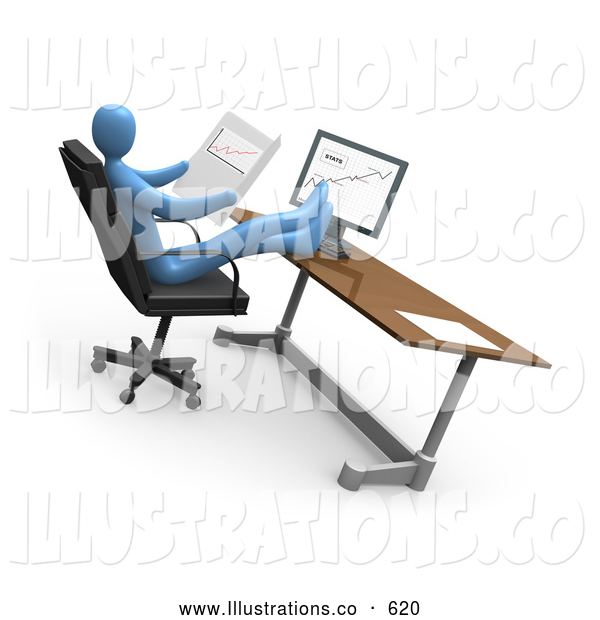 Royalty Free Stock Illustration of a Businessman at a Computer in an Office, His Feet Crossed and up on the Desk While Comparing Graphs