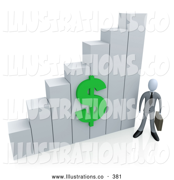 Royalty Free Stock Illustration of a Businessman Holding a Briefcase and Standing Beside a Shiny White Bar Graph Chart with a Green Dollar Symbol on It
