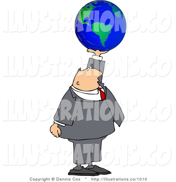 Royalty Free Stock Illustration of a Businessman Holding a Globe of Earth in His Hand - Concept