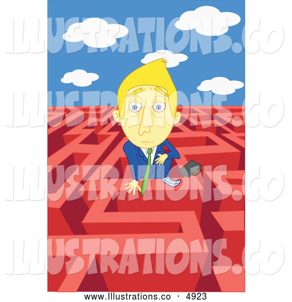 Royalty Free Stock Illustration of a Businessman in a Complex Maze
