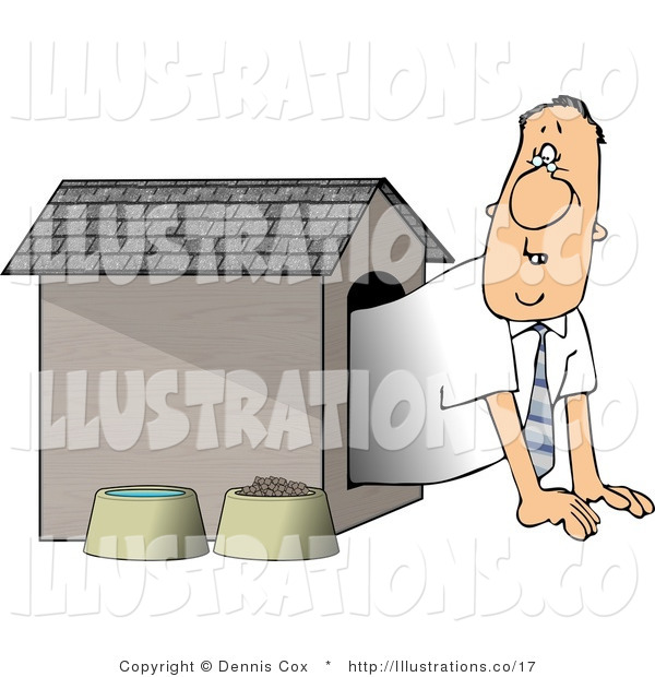 Royalty Free Stock Illustration of a Businessman Peeking out from Inside the Doghouse